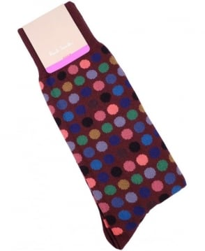 Paul Smith  Burgundy Multi Polka Dot ANXA-380A-F990 Sock