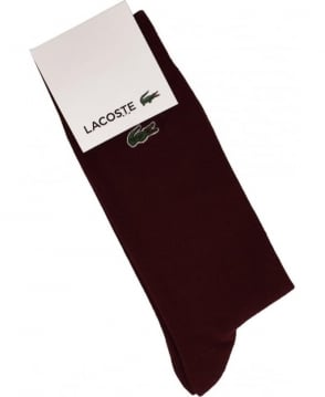 Lacoste Burgundy RA6300 Ribbed Finish Sock