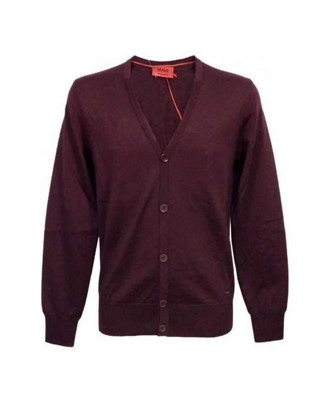 Hugo Burgundy Siadario Cardigan Knitwear