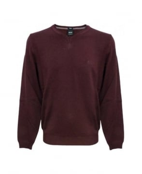 Hugo Boss Burgundy V-Neck Batisse-B Knitwear