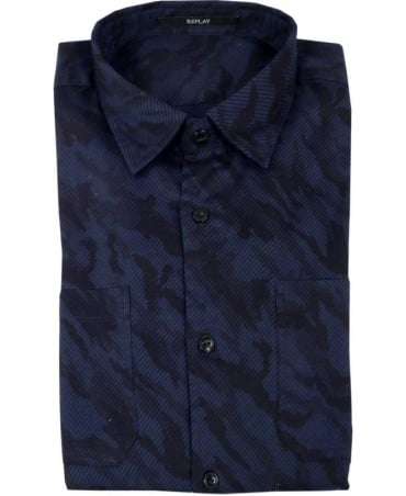 Replay Camouflage Shirt In Black/Blue
