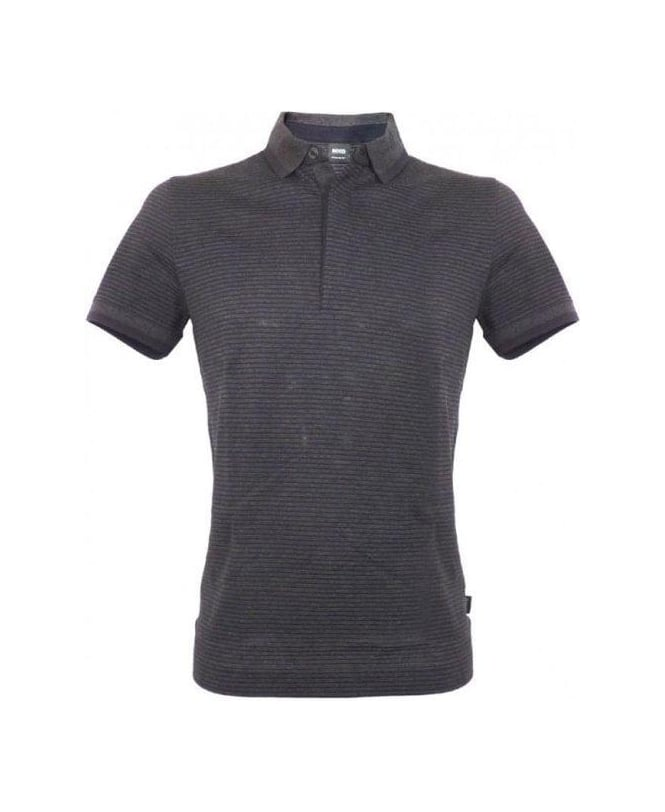 Hugo Boss Charcoal Grey & Black Stripe Janis 59 Polo