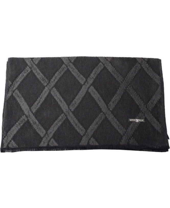 Emporio Armani Charcoal Grey Diamond Pattern Silk Mix Scarf