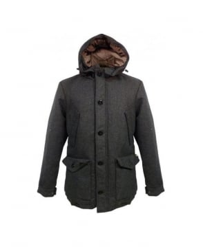 Scotch & Soda Charcoal Melange Hooded Zip & Button Parka