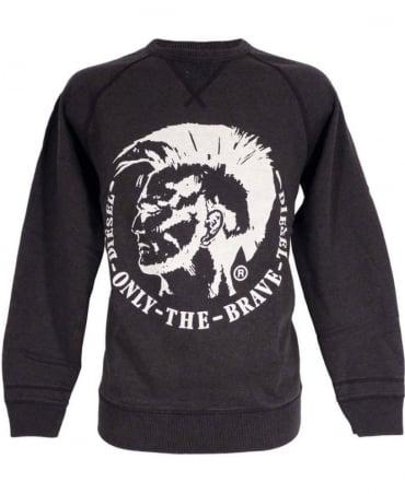 Diesel Charcoal S-Orestes Crew Neck Grey  Logo Sweatshirt
