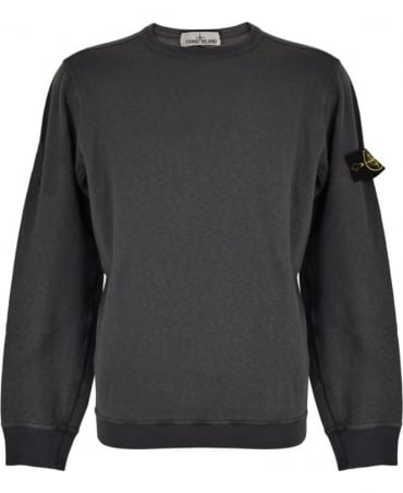 Stone Island Charcoal Washed Crew Neck Sweatshirt