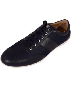 Armani Jeans Classic sneaker In Blue leather And Denim