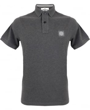 Stone Island Cotton Pique Polo Shirt In Charcoal