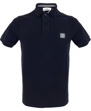 Stone Island Cotton Pique Polo Shirt In Navy