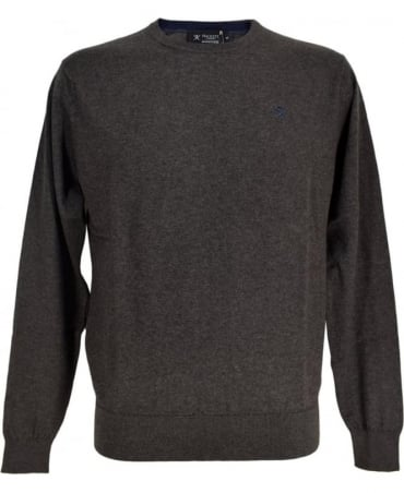 Hackett Cotton Silk Cashmere Mix Jumper In Charcole