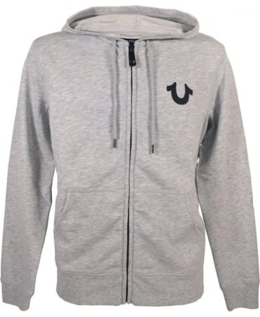 True Religion 'Crafted With Pride' MYBB008OF9 Hoodie In Heather Grey