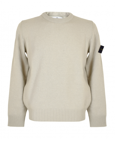 Stone Island Cream Knitwear Crew Neck Jumper