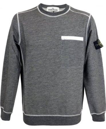 Stone Island Crew Neck Sweatshirt In Charcoal