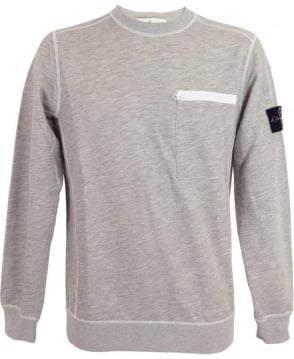 Stone Island Crew Neck Sweatshirt In Light Grey