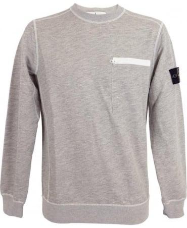 Stone Island Crew Neck Sweatshirt In Light Grey