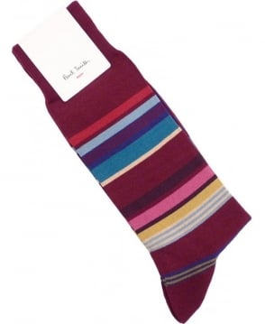 Paul Smith - Accessories Damson Burgundy Stamp Stripe ALXX/380A/F677 Sock