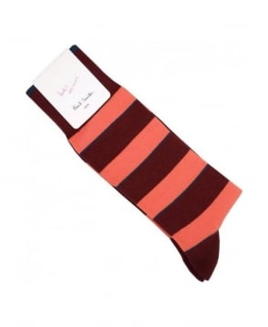 Paul Smith - Accessories Damson Burgundy Stripe Odd Sock