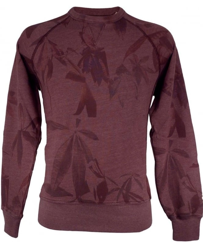 Paul Smith Damson JMFJ/782N/656 Leaf Print Crew Neck Sweatshirt