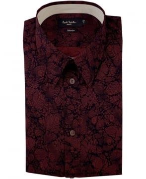 Paul Smith  Damson Red JNFJ-951N-B32 Pattern Taliored Fit Shirt