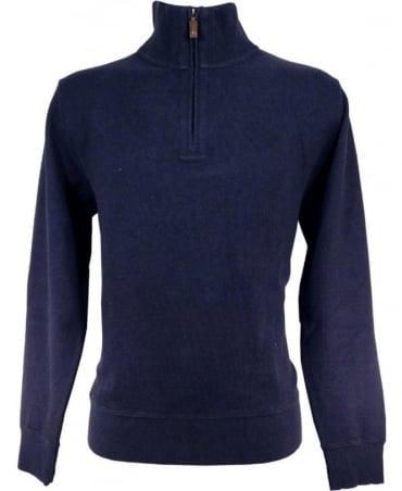 Gant Dark Blue 226328 Half Zip Sacker Rib Sweatshirt