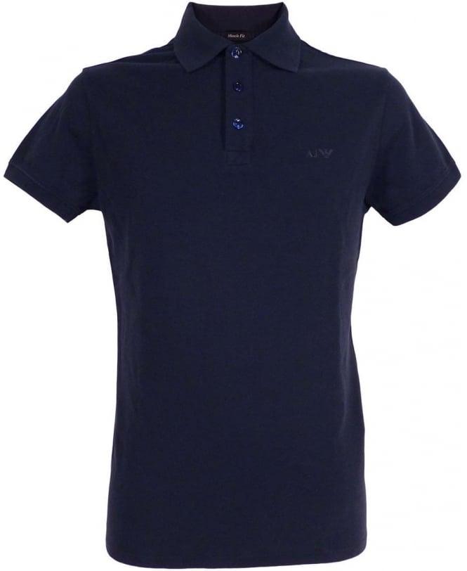 Armani Dark Blue 3 Buttoned Armani Jeans Polo