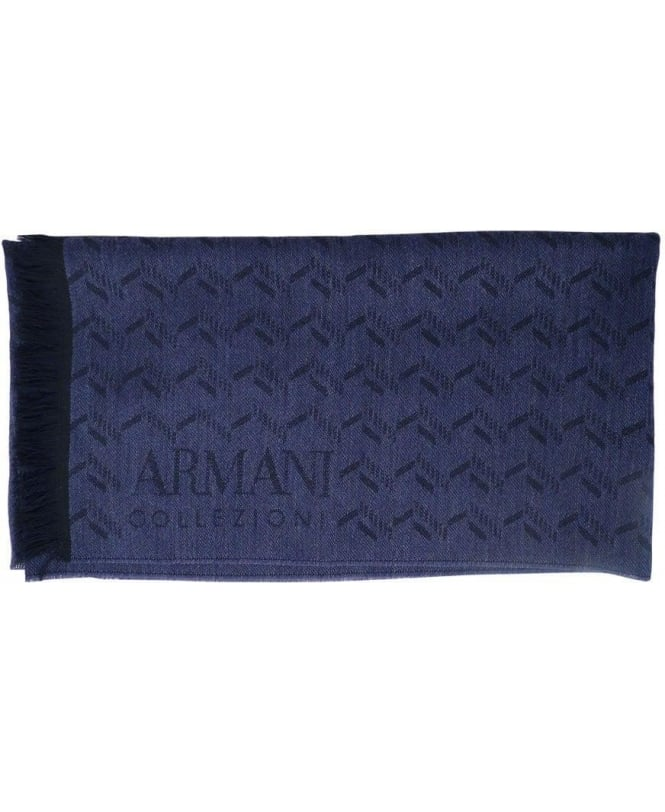 Armani Dark Blue & Black Two-Tone Pattern Scarf
