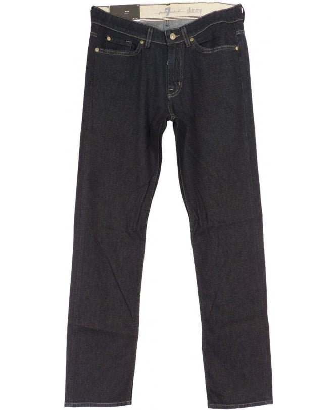 7 For All Mankind Dark Blue Cotton & Cashmere Blend Jeans