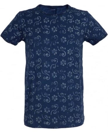 Replay Dark Blue Floral Patterned T-Shirt