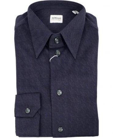 Armani Dark Blue Jacquard Jersey Slim Fit Shirt