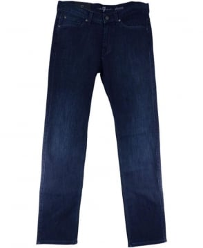 7 For All Mankind Dark Blue Luxe Stretch Slimmy Jeans