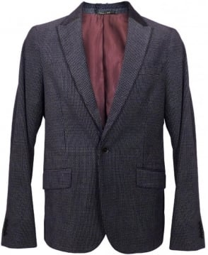 Scotch & Soda Dark Blue Patterned Velvet Blazer