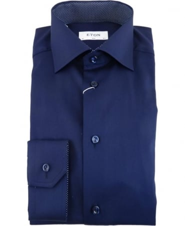 Eton Shirts Dark Blue Short Sleeve Linen Shirt