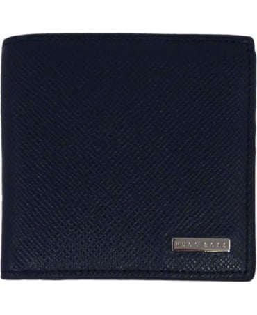 Hugo Boss Dark Blue 'Signature_8cc' Wallet In Textured Leather