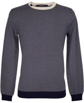 Scotch & Soda Dark Blue Striped 137164 Soft Cotton Pullover