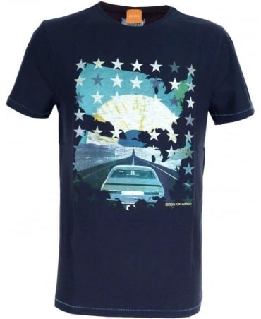 Hugo Boss Dark Blue 'Twig 6' Print T-shirt