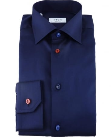 Eton Shirts Dark Blue Twill Shirt With Multi Coloured Buttons