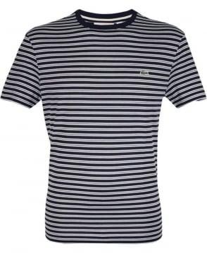 Lacoste Dark Blue & White Stripe TH1889 Crew Neck T-Shirt
