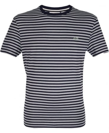Lacoste Dark Blue & White Stripe TH1889 Crew Neck T-Shirt
