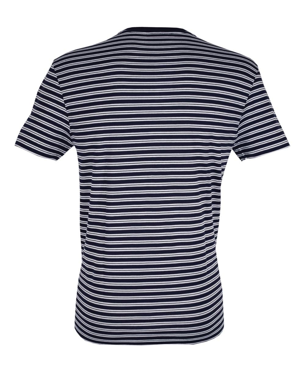 Dark blue white stripe th1889 crew neck t shirt for Blue white striped t shirt