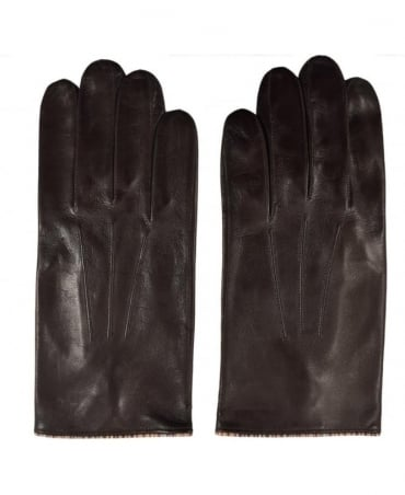 Paul Smith  Dark Brown ARXC-028D-G21 Vintage Trim Leather Gloves