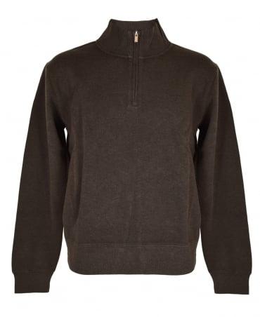 Gant Dark Brown Melange Sacker Rib Half Zip Sweatshirt