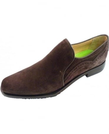 Oliver Sweeney Dark Brown Orfano Suede Slip On Shoes