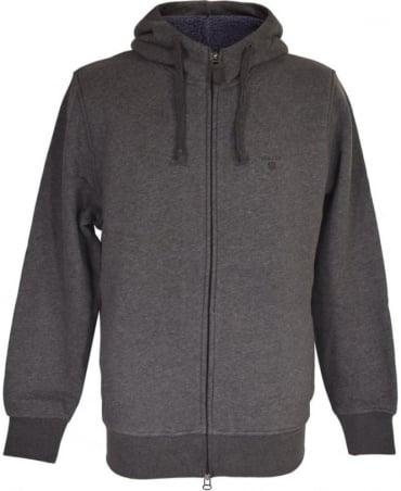 Gant Dark Charcoal 'Shearling' Zip Hoodie