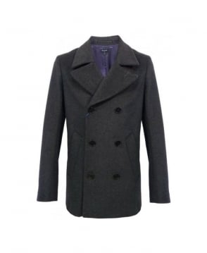 Paul Smith  Dark Grey Double Breasted Pea Coat