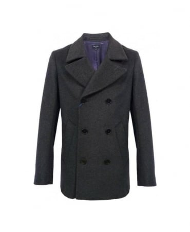 Paul Smith - PS Dark Grey Double Breasted Pea Coat