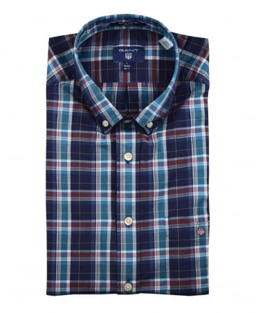 Dark Indigo Broadcloth Check Shirt