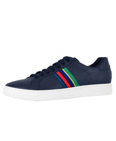 Dark Navy Lapin Leather Multi Stripe Trainers