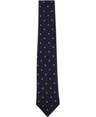 Paul Smith - Accessories Dark Navy Star Pattern APXA/552M/Z09 8cm Blade Tie