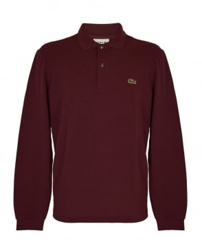 Lacoste Dark Red Marl Classic Fit L.13.13 Long Sleeve Polo
