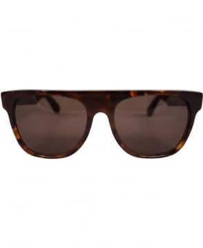 Retrosuperfuture Dark Tortoiseshell Flat Top Classic Sunglasses